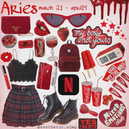 freetoedit zodiac aries red aesthetic
