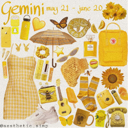 freetoedit zodiac gemini yellow yellowaesthetic