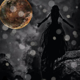 girl alone moon night light freetoedit