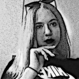 freetoedit girl blondie sunglasses black&white