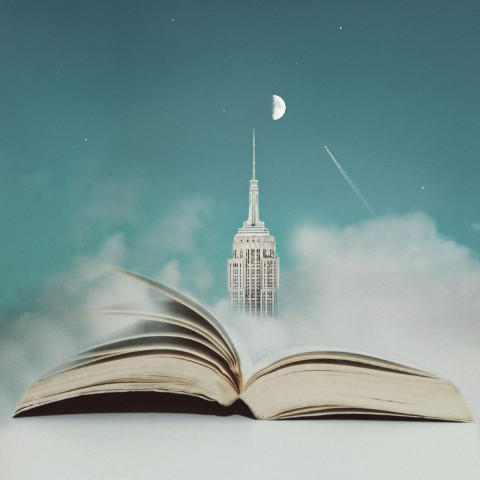 Opened book under the moon edit