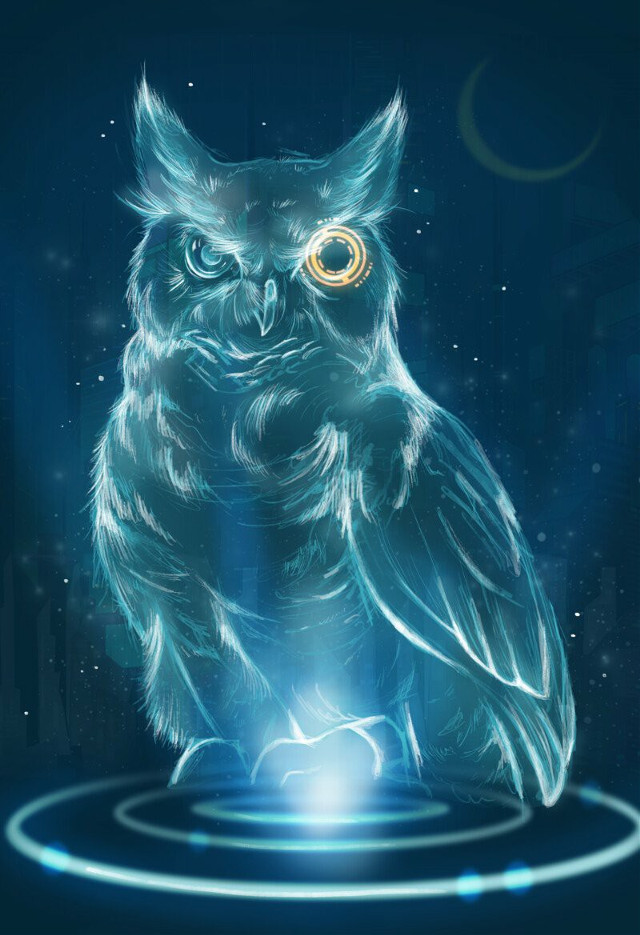 Pichu the hologram owl❤🦉 Full pic and high res are on my Artstation ! #scifiart #scifi #owl #bird #creqture #animalart #drawing #art #digitaldrawing #illustration #photoshop #adobephotoshop #digitalartist #scifi #sciencefiction  #sciencefictionart  #freetoedit