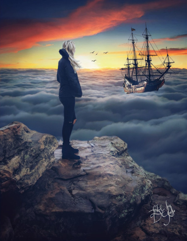 #freetoedit , #ship, #seaclouds, #dusk, #viewpoint , #clipart, #fxeffcts