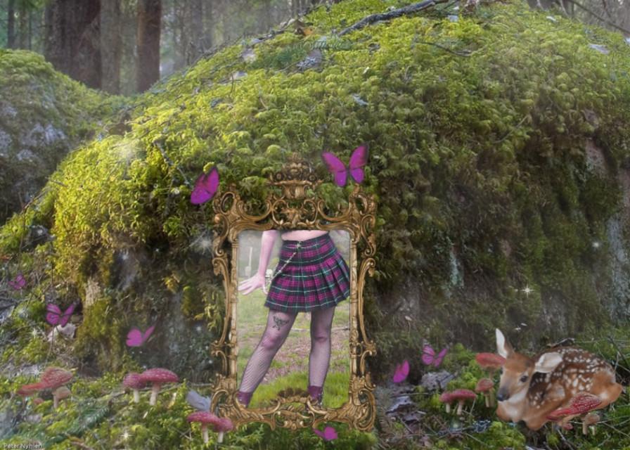 #freetoedit #cottagecore #deer #chain #plaidskirt #woods #forest #moss