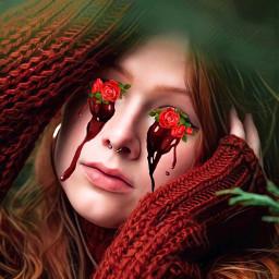 freetoedit flowers blood eyes ecflowereyes flowereyes