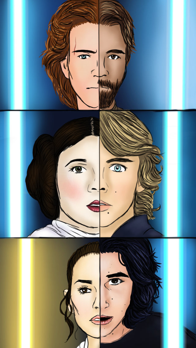 ☆☆☆~Open Me Pls!~☆☆☆  Why hello there everyone. Its me Kat again...😊  For this piece of art I made I just wanted to do a split face thing, because I just thought it was cool, idk. So I new I was going to do ben and rey but I was like, c'mon Kat, let's be extra here. So I did characters throught all the star wars movies. Anakin, Obi-Wan, Leia, Luke, Rey, and Ben. To be honest, not one of my favorite pieces of art. I like the idea but...idk its just not sitting with me right. It's not my favorite. Maybe it's a mistake posting something that I'm not really proud of but a lot of work was put into this and I don't wanna keep working on this, lol. So I'm posting ittt, yaayyy 😅😆🙃 I hope you all like this, and May the force be with you! #anakin #anakinskywalker #chosenone #obiwankenobi #hellothere #princessleia #princess #general #luke #lukeskywalker #master #rey #reyskywalker #reypalpatine #allthejedi #kyloren #supremeleader  #ben #bensolo #bringbackbensolo #starwars #jedi #jediknight #sith