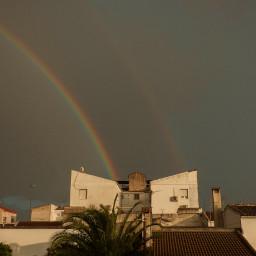 rainbow sky building colors landscape scenics