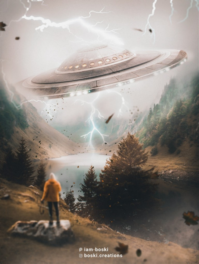 My ride's here.  Made by me @iam-boski  Check out my Instagram: @boski.creations  .  .  An old edit I found in my gallery while clearing up space. Give @huitzlipochtli fantastic gallery a visit if you haven't already. She's awesome, trust me💙      #picsart #makeawesome #ufo #papicks #trees #forest #man #standing #Alien #madewithpicsart #surrealism