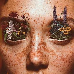 freetoedit freckles girl flowers eyes ecflowereyes