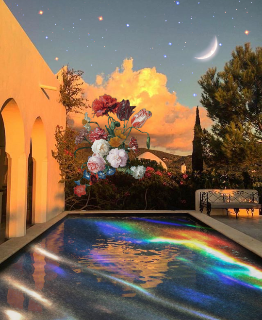 If it can be made difficult, why should it be made easy.. 😆😆😆 . . #magical #moon #starrysky #pool #flowers #dreamy #heaven #heavenlypooltime #madewithpicsart  #freetoedit @picsart