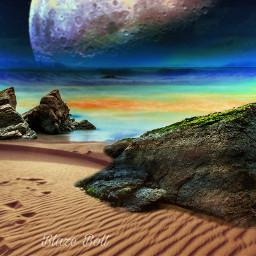 freetoedit surreal sea beach moon