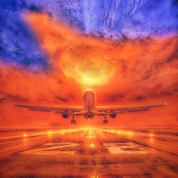 freetoedit plane traveling airport horizon