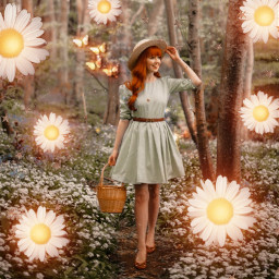 freetoedit challenge forest magical magic girl redhair flowers light challenge picnic vote