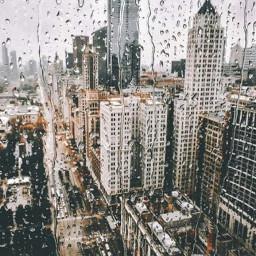 city rainy window