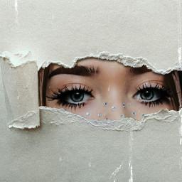 freetoedit ojos papelrasgado papel chica