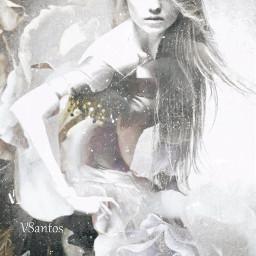doubleexposure collage digitalart flowers bw