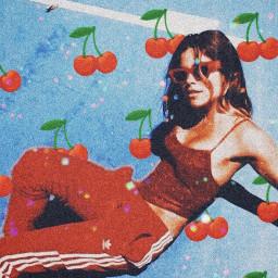 freetoedit red cherry retro aesthetic