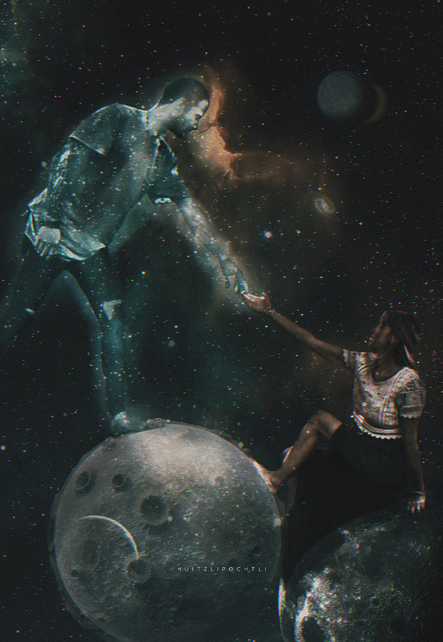 A little help from my friends    #surreal #surrealism #love #space #sky #planets #galaxy #cosmos #galactical #stars #couple #freetoedit