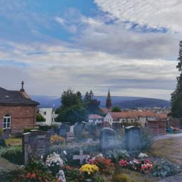 graveyard blueskyandclouds view foggymorning germany