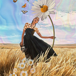 freetoedit holographicbutterflies girl giantflower flowers