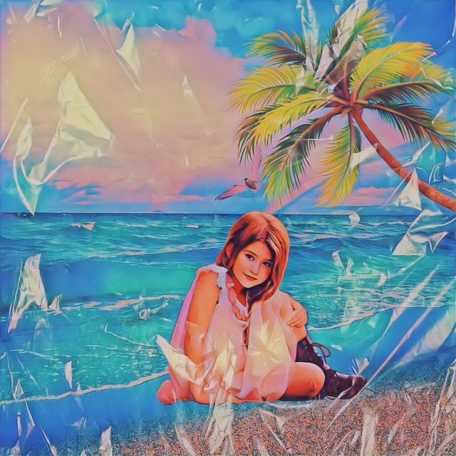 #freetoedit #girl#sea#palm#bluesea#edit