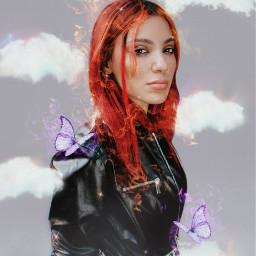 freetoedit fire hair butterflies glitter ecnikidemarfanremix