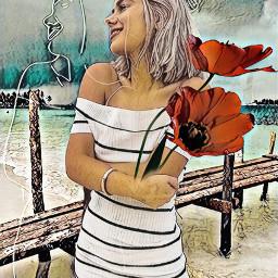 freetoedit flower beachday girl