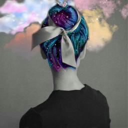 freetoedit mariposas❤ cabello pintura nubes mariposas echairart hairart