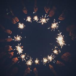 circle lookingup lowangle sparklers night hands summer fireworks freetoedit
