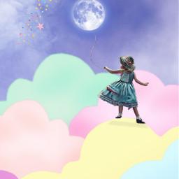 freetoedit fantasyart girl balloon moon clouds makebelieve myimagination cute colorful myedit madewithpicsart