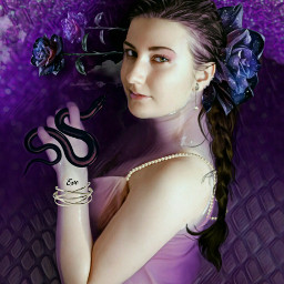 freetoedit lilacwater woman pretty plaitedhair eve temptress roses flowers galacticflower pearls bracelet glitter snake snakeskin clouds imagination myimagination create stayinspired madewithpicsart