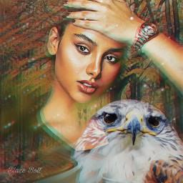 freetoedit glitch hawk forest emotion mood trees bird fantasy woman