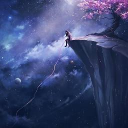 freetoedit remixit alone sitting pondering cherryblossom mountain edge string galaxy space stars tree plzfollowandlike