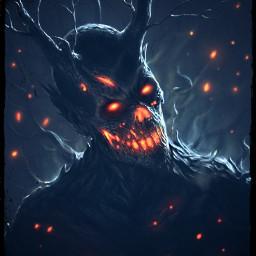 freetoedit remixit fire wood demon evil malicious nothuman run burning flawed