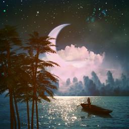 freetoedit moon reflection sea trees
