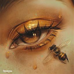 remixit freetoedit plzfollow eyesofhoney teen girl sweet pretty eye bee sticky glitter