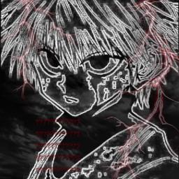 killua hxh anime drain draingang glitchcore aesthetic