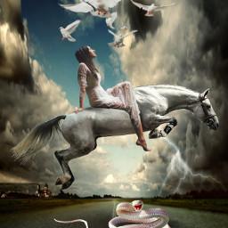 freetoedit fantasy surrealistic woman whitehorse snake beautyofnature beautyallaround madewithpicsart myimagination myedit