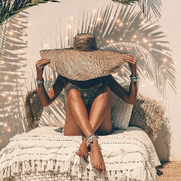 freetoedit exotic skin skintone beach summer hat woman photography aesthetic shadow leaves plant