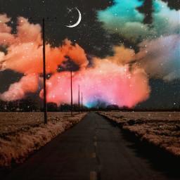 freetoedit sky heaven moon road