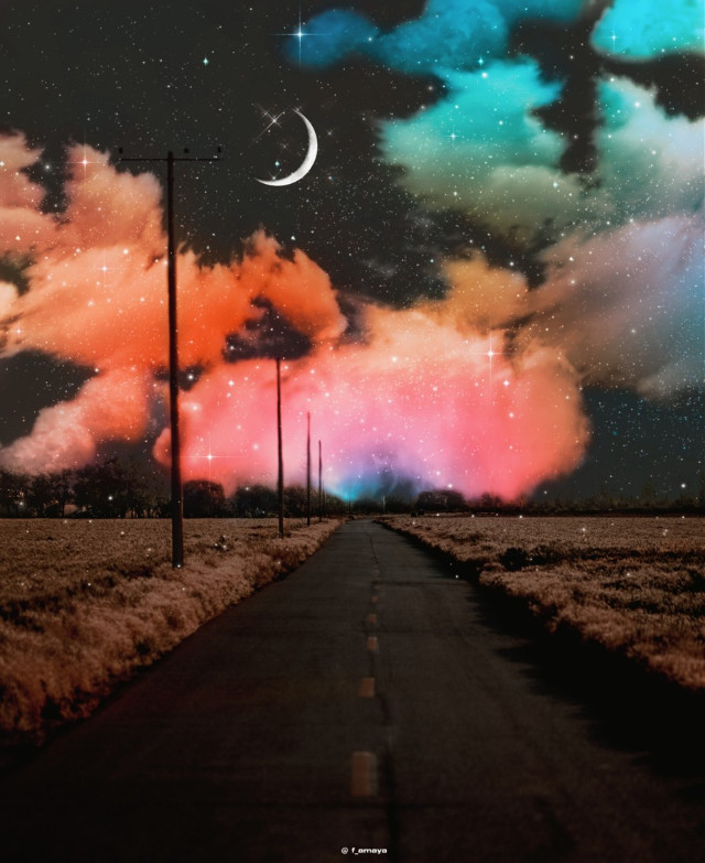 •𝐌𝐢𝐝𝐧𝐢𝐠𝐡𝐭 𝐒𝐤𝐲• 😍🌌☁️🌙#sky #heaven #moon #road #highway #nightsky #neonnight  #freetoedit #glitter #shine #bright #night #dream #magic #fantasy #fantastic #clouds #madewithpicsart #background  #picsartpicks #pickme #papicks #myedit #sweet #remixit @PA