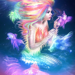 freetoedit remixit plzfollow rainbow mermaid fish bright vibrant tail underwater girl prettygirl teen