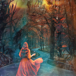 doubleexposure fantasy trees path water freetoedit