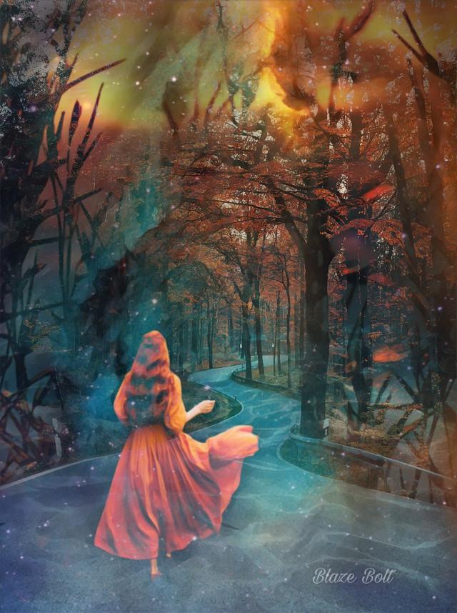 #doubleexposure #fantasy #trees #path #water