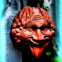 photography face man garden ornament rtfartee myphoto myedit vignette focalzoom colourchange