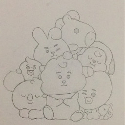 freetoedit bt21 tata chimmy koya shooky cooky mang draw drawing