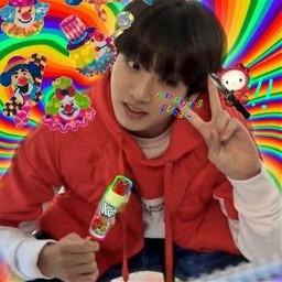 jungkook kookie jungkookookie maknae goldenmakne korea southkorea boyband bts banhtanboys bangtansonyandan kpop kidol kpopidol indie indiekid indieedit kpopedit jungkookfanart cute peacesign rainbow jungkookindieedit