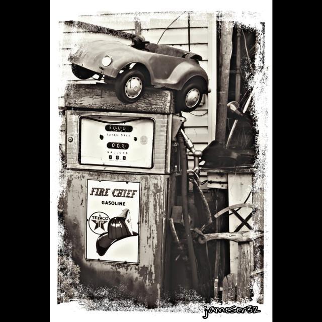 #photography #summer #sepia #gas #gas-pump #toy #car #cool #retro