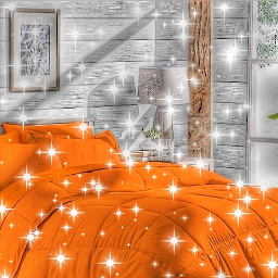 freetoedit sparkle glitter orange bed bedroom orangeroom orangebedroom room wall panting frame pictures lampe light pictureframe silver white green plant window outside gold brown books