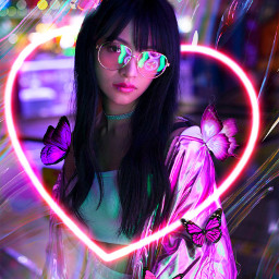 yup_sup babypanda girl neon neongirl standing model glassess butterfly aesthetic night heart mylove freetoedit